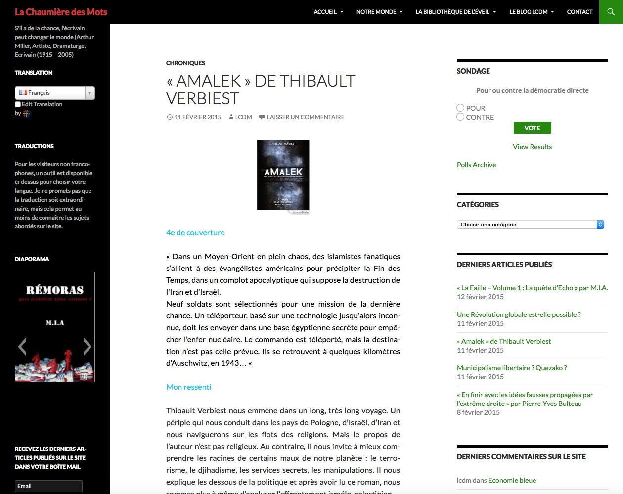 article sur Amalek de Thibault Verbiest sur le blog La Chaumiere Des Mots