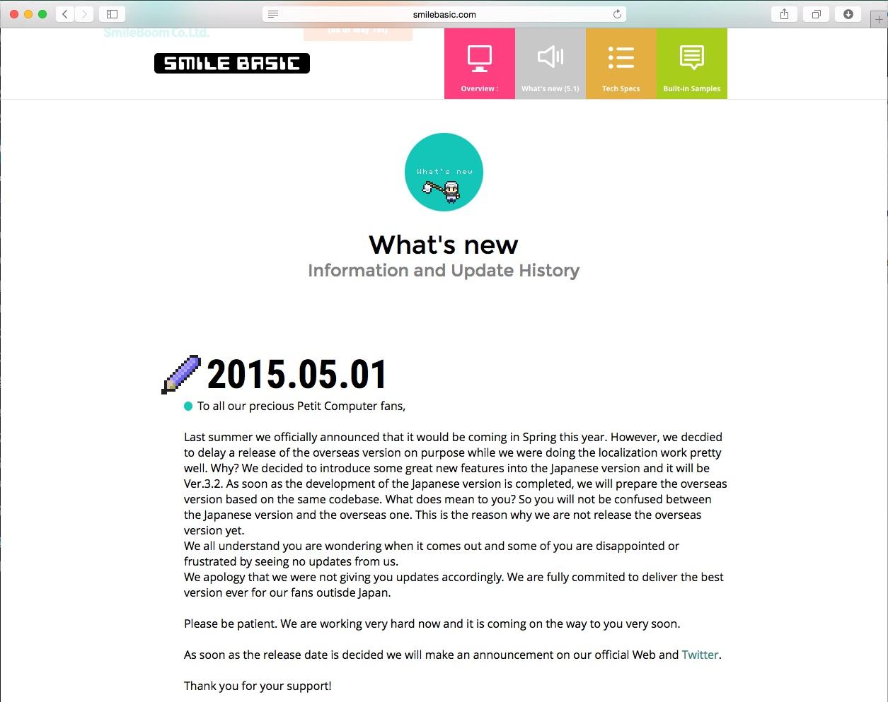 Communiqué Smilebasic dd. 01.05.2015