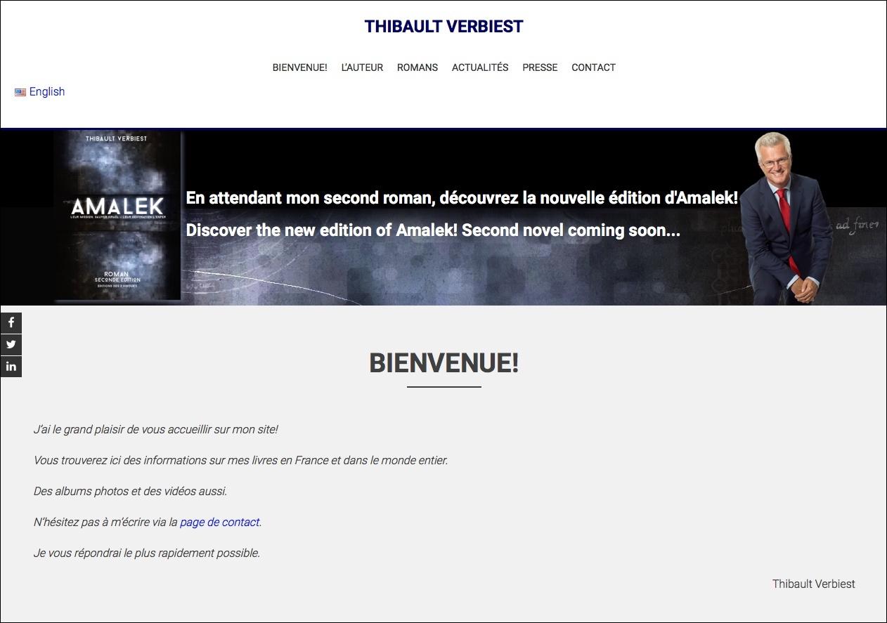 site Thibault Verbiest page d'Accueil