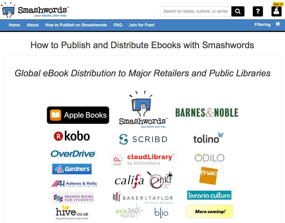 page d'accueil de Smashwords pour les auteurs