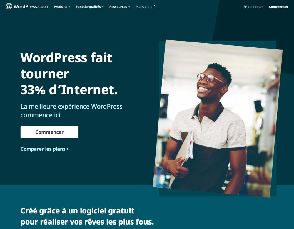 page d'accueil de WordPress