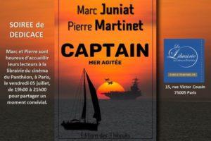 Invitation à la soirée de dédicace de Captain, de Marc Juniat et Pierre Martinet, le vendredi 5 juillet à la librairie du cinéma du Panthéon, à Paris