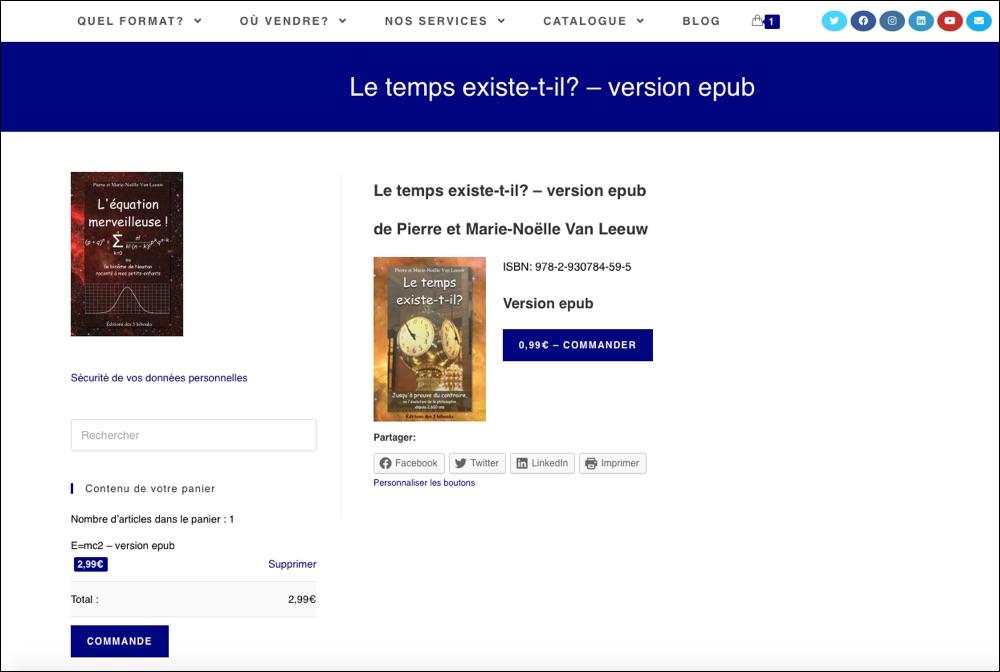 website d'auteur avec module de vente de livres